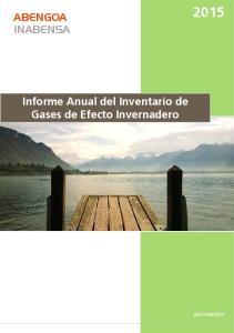 Informe Anual del Inventario de Gases de Efecto Invernadero