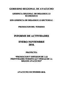INFORME DE ACTIVIDADES ENERO-NOVIEMBRE 2010