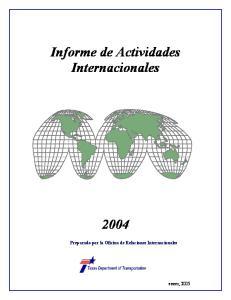 Informe de Actividades Internacionales