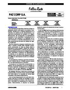 INFORME DE CLASIFICACIÓN. Feller-Rate CLASIFICADORA DE RIESGO
