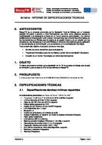 INFORME DE ESPECIFICACIONES TECNICAS