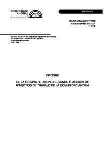 INFORME DE LA OCTAVA REUNION DEL CONSEJO ASESOR DE MINISTROS DE TRABAJO DE LA COMUNIDAD ANDINA