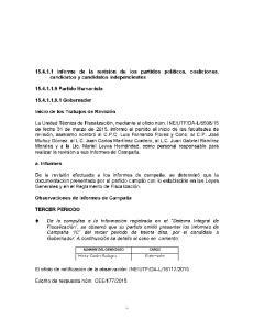 Informe de la revision de los partidos politicos, coaliciones, candidatos y candidatos independientes