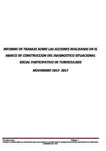 INFORME DE TRABAJO SOBRE LAS ACCIONES REALIZADAS EN EL MARCO DE CONSTRUCCION DEL DIAGNOSTICO SITUACIONAL SOCIAL PARTICIPATIVO DE TUBERCULOSIS
