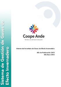 Informe del Inventario de Gases de Efecto Invernadero. Informe de Inventario de Gases de Efecto Invernadero