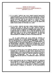 INFORME DEL MES DE JUNIO DIRECCION DE PROTECCION CIVIL Y BOMBEROS MUNICIPAL COMPOSTELA, NAYARIT