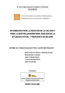 INFORME DEL TRABAJO REALIZADO POR EL EQUIPO INVESTIGADOR: