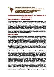 INFORME DEL XIX CONGRESO LATINOAMERICANO y XXIII ARGENTINO DE LA CIENCIA DEL SUELO