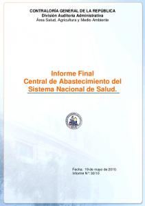 Informe Final Central de Abastecimiento del Sistema Nacional de Salud