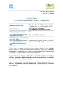 INFORME FINAL EVALUACIÓN PARA RENOVACIÓN DE LA ACREDITACIÓN