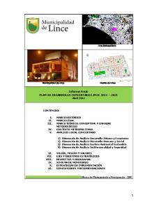 Informe Final: PLAN DE DESARROLLO CONCERTADO LINCE Abril 2011