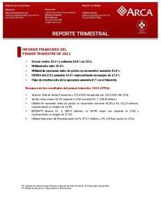 INFORME FINANCIERO DEL PRIMER TRIMESTRE DE 2011