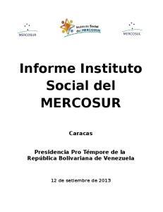 Informe Instituto Social del MERCOSUR