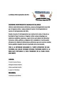 INFORME MOVIMIENTO DAMAS DE BLANCO