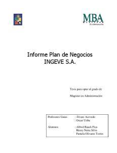 Informe Plan de Negocios INGEVE S.A