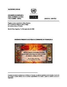 INFORME PRESENTADO POR EL GOBIERNO DE VENEZUELA