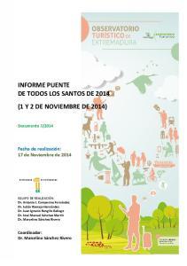 INFORME PUENTE DE TODOS LOS SANTOS DE 2014 (1 Y 2 DE NOVIEMBRE DE 2014)