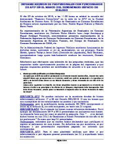 INFORME REUNION DE PROFESIONALES CON FUNCIONARIOS DE AFIP EN EL MARCO DEL DENOMINADO ESPACIO DE DIALOGO