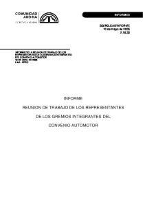 INFORME REUNION DE TRABAJO DE LOS REPRESENTANTES DE LOS GREMIOS INTEGRANTES DEL CONVENIO AUTOMOTOR