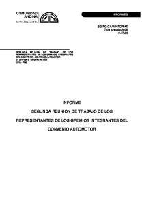 INFORME SEGUNDA REUNION DE TRABAJO DE LOS REPRESENTANTES DE LOS GREMIOS INTEGRANTES DEL CONVENIO AUTOMOTOR