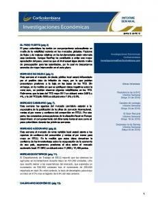 INFORME SEMANAL. Resistencia de la BVC Informe Semanal (Mayo 31 de 2010)