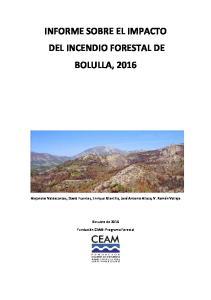 INFORME SOBRE EL IMPACTO DEL INCENDIO FORESTAL DE BOLULLA, 2016