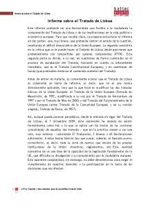 Informe sobre el Tratado de Lisboa