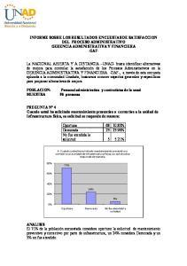 INFORME SOBRE LOS RESULTADOS ENCUESTAS DE SATISFACCION DEL PROCESO ADMINISTRATIVO GERENCIA ADMINISTRATIVA Y FINANCIERA -GAF-