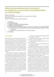 Informe sobre procedimiento para la transferencia de competencias y servicios entre la Comunidad de Madrid y la Ciudad de Madrid