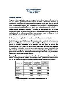 Informe Social Corpesca Gemines Consultores Abril de Corpesca como empleador y como actor social en las comunidades donde opera