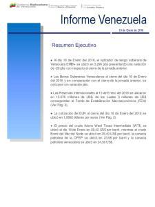 Informe Venezuela. Resumen Ejecutivo. 18 de Enero de 2016