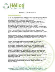 Informe y Actividades 2010