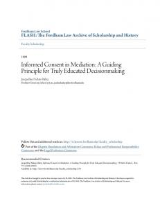 Informed Consent in Mediation: A Guiding Principle for Truly Educated Decisionmaking