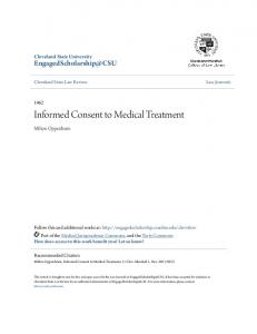 Informed Consent to Medical Treatment
