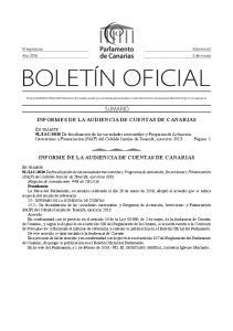 INFORMES DE LA AUDIENCIA DE CUENTAS DE CANARIAS INFORME DE LA AUDIENCIA DE CUENTAS DE CANARIAS