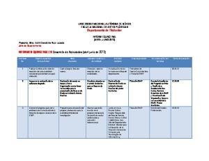 INFORMES QUINCENALES Desarrollo de Actividades (abril-junio de 2013)