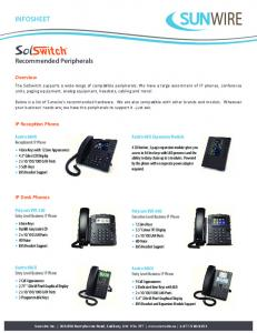 INFOSHEET. Recommended Peripherals. Overview. IP Recep on Phone. IP Desk Phones. Aastra 6869i Receptionist IP Phone. Aastra 685i Expansion Module
