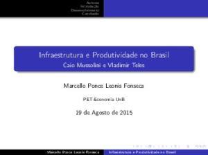 Infraestrutura e Produtividade no Brasil