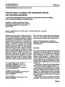 Infrared sauna in patients with rheumatoid arthritis and ankylosing spondylitis