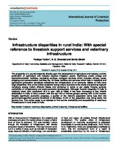 Infrastructure disparities in rural India: With special reference to livestock support services and veterinary infrastructure