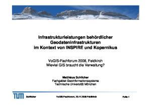Infrastrukturleistungen behördlicher Geodateninfrastrukturen im Kontext von INSPIRE und Kopernikus