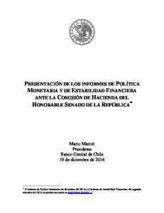 [INF*RES*AS] Mario Marcel Presidente Banco Central de Chile 19 de diciembre de 2016