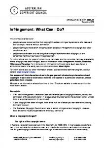 Infringement: What Can I Do?
