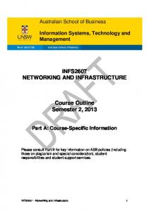 INFS2607 NETWORKING AND INFRASTRUCTURE. Course Outline Semester 2, 2013