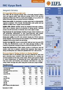 ING Vysya Bk. Being with Certainty. Company Report