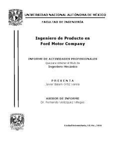 Ingeniero de Producto en Ford Motor Company