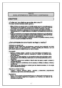 INGLES NIVEL INTERMEDIO 2: OBJETIVOS Y CONTENIDOS