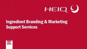 Ingredient Branding & Marketing Support Services