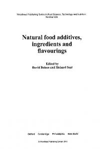 ingredients and flavourings