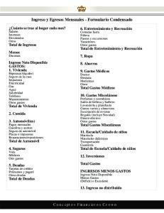 Ingreso y Egresos Mensuales - Formulario Condensado